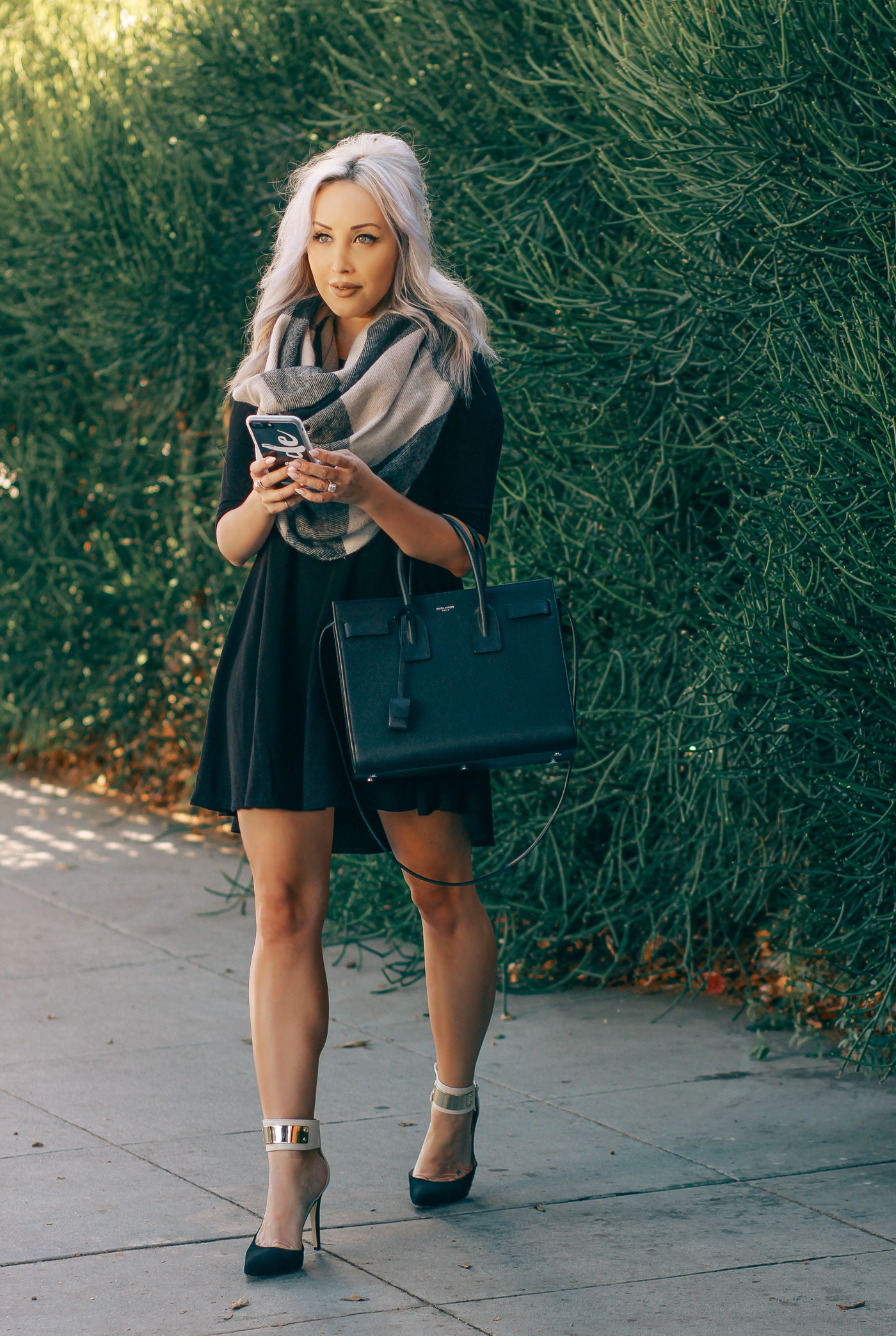 Blondie in the City | Cute Black Sweater Dress, Big Plaid Scarf, Saint Laurent Bag