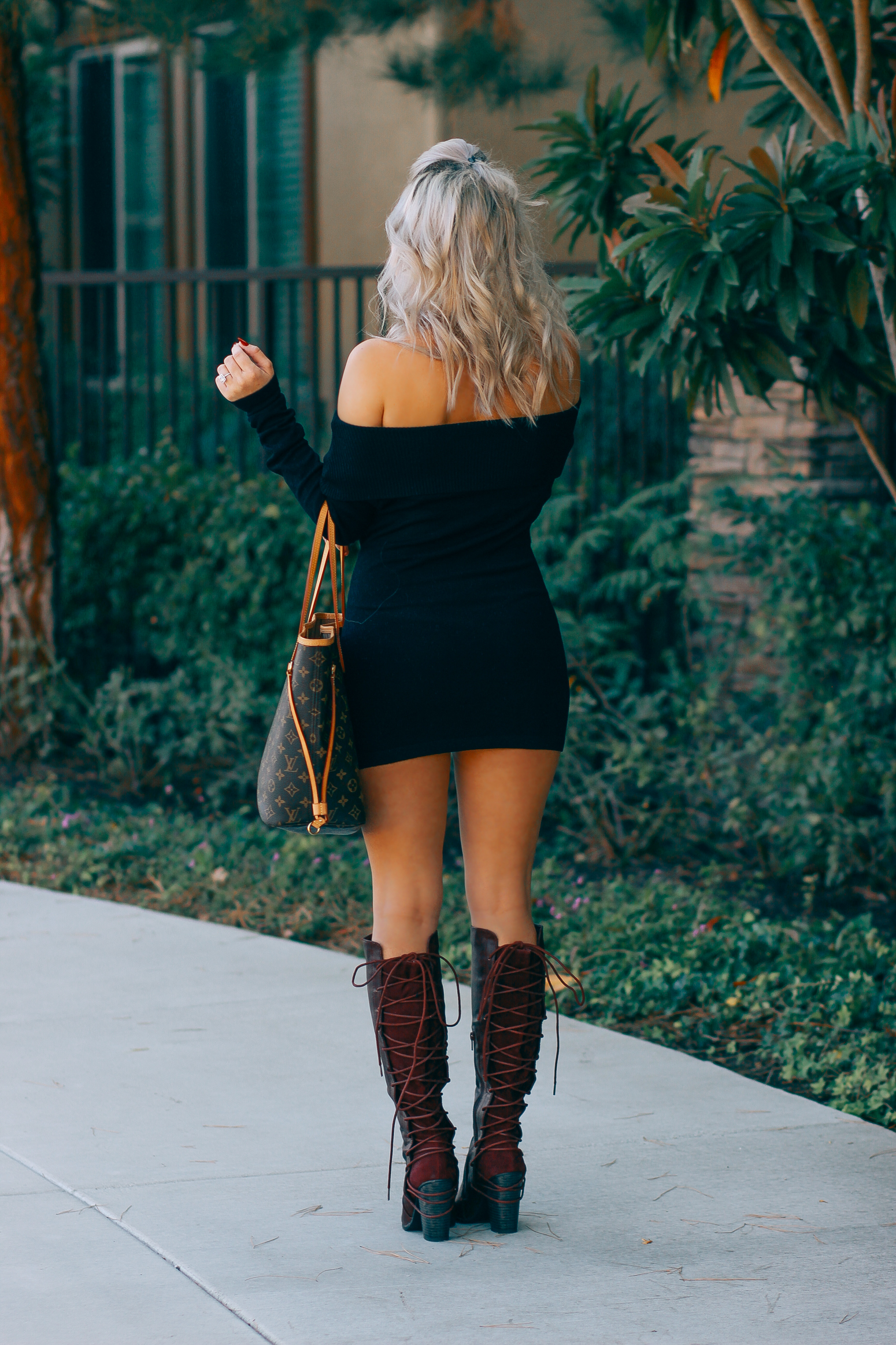 Blondie in the City | Black Off The Shoulder Dress, Knee High Boots, Louis Vuitton Neverfull Bag