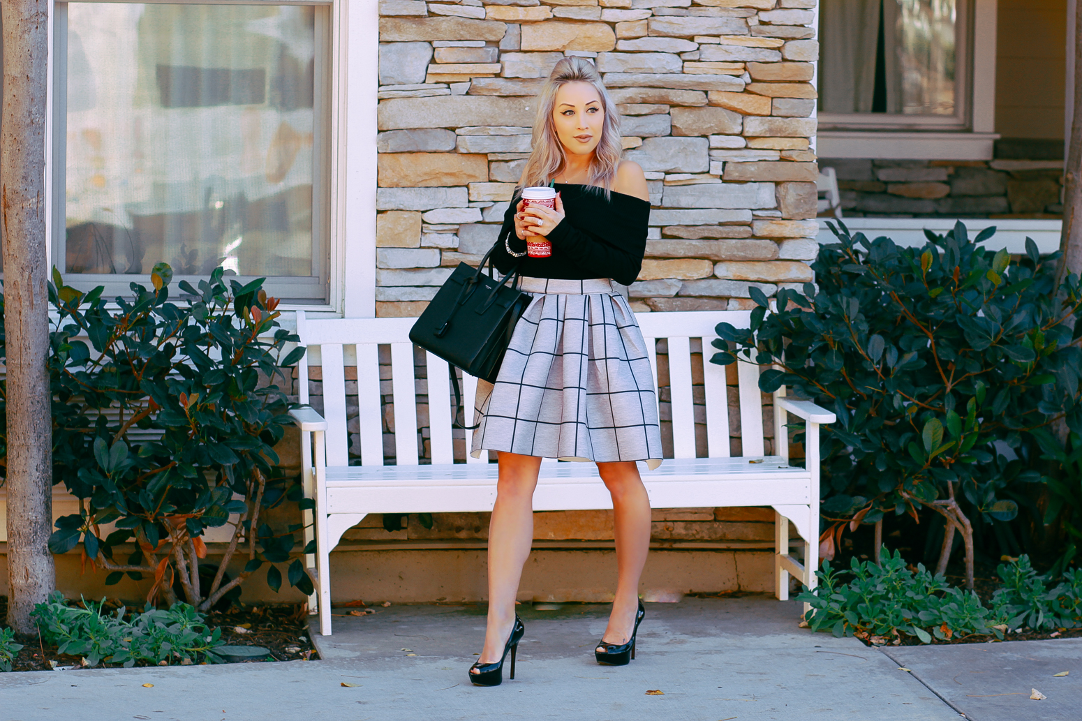 Blondie in the City | IG: @HayleyLarue | Grid Print Holiday Skirt | Holiday Outfit Inspiration