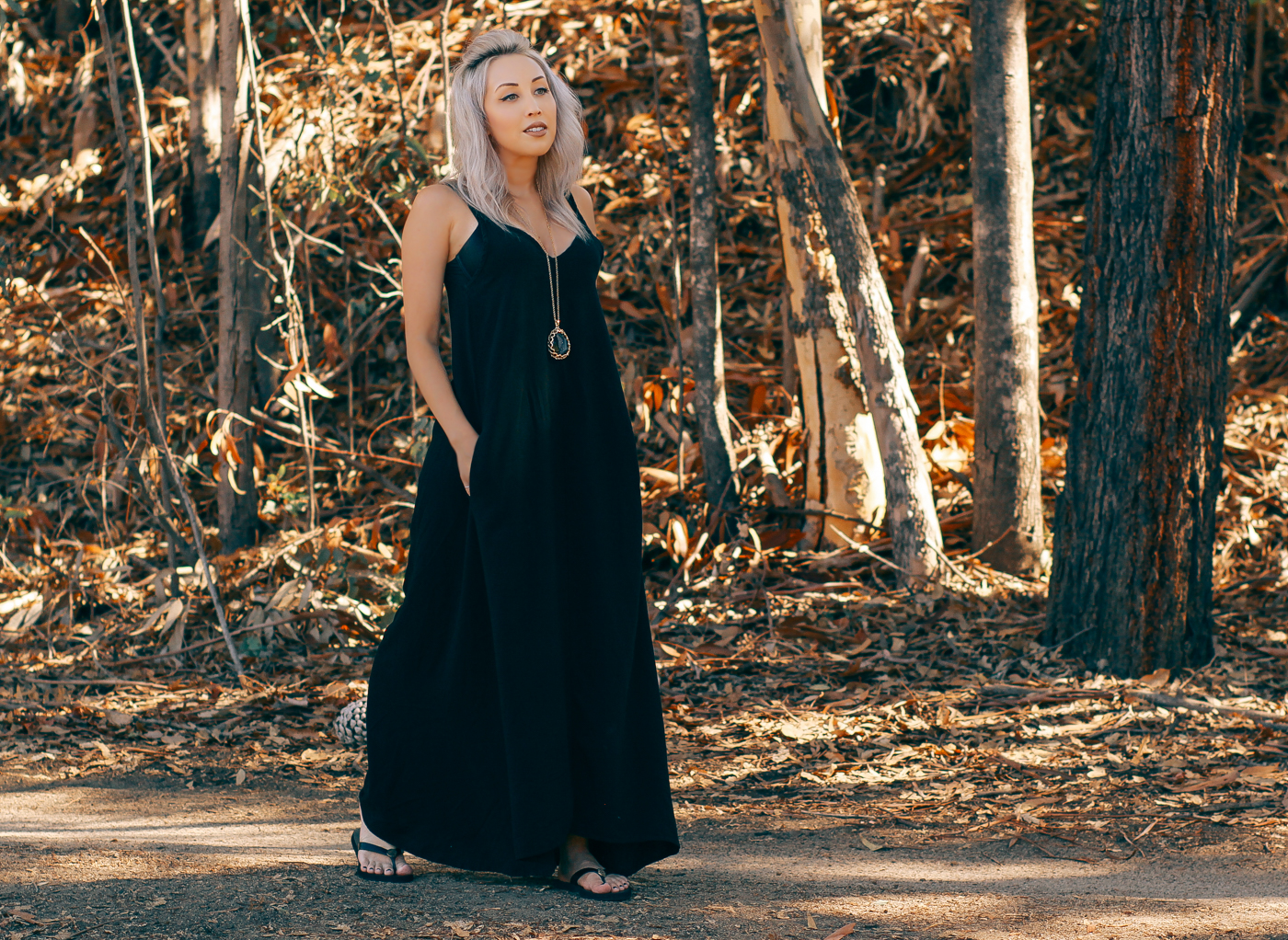 Blondie in the City | Low Cut Black Maxi Dress