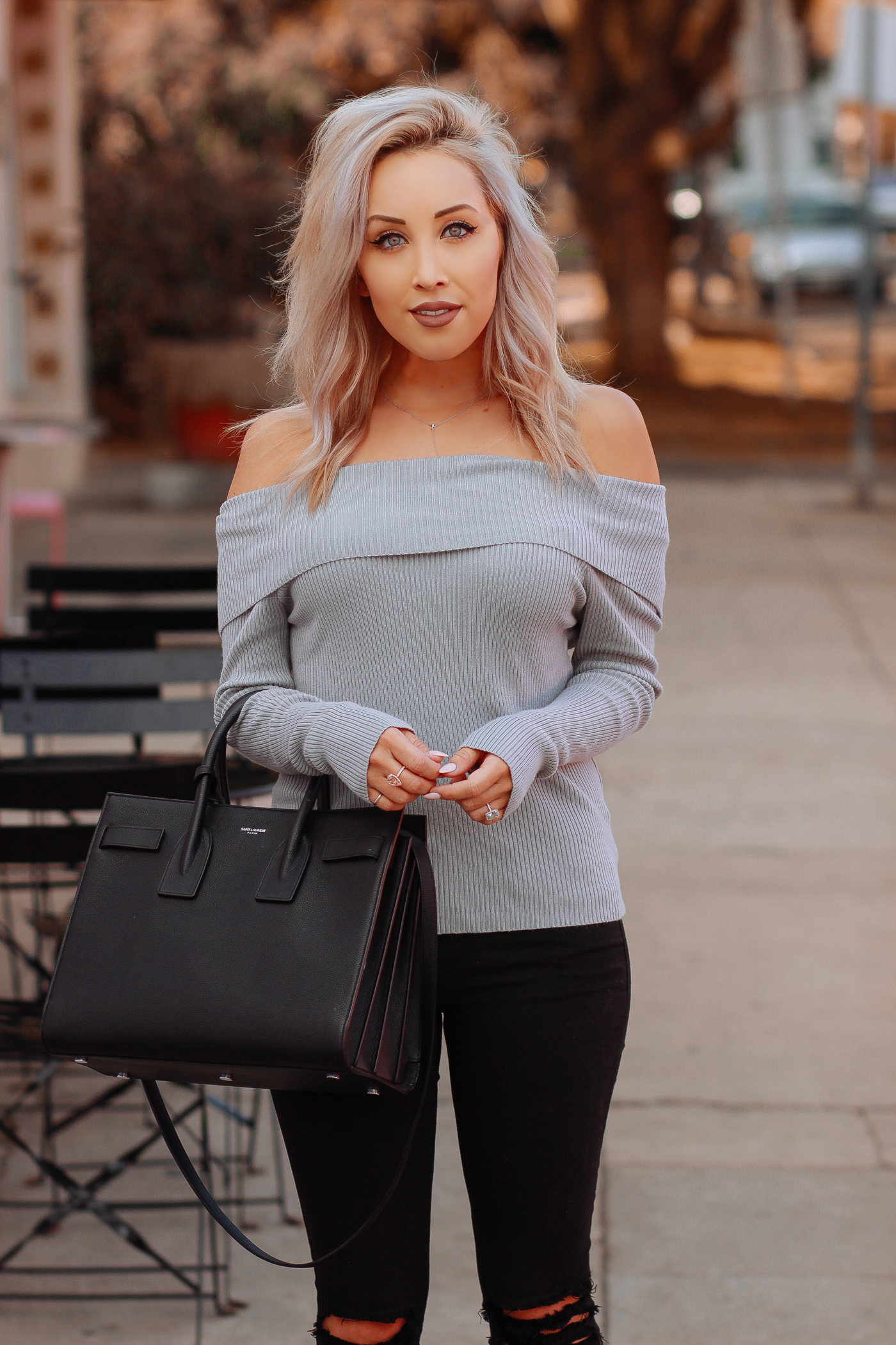 Blondie in the City | Off The Shoulder Sweater | Saint Laurent Bag