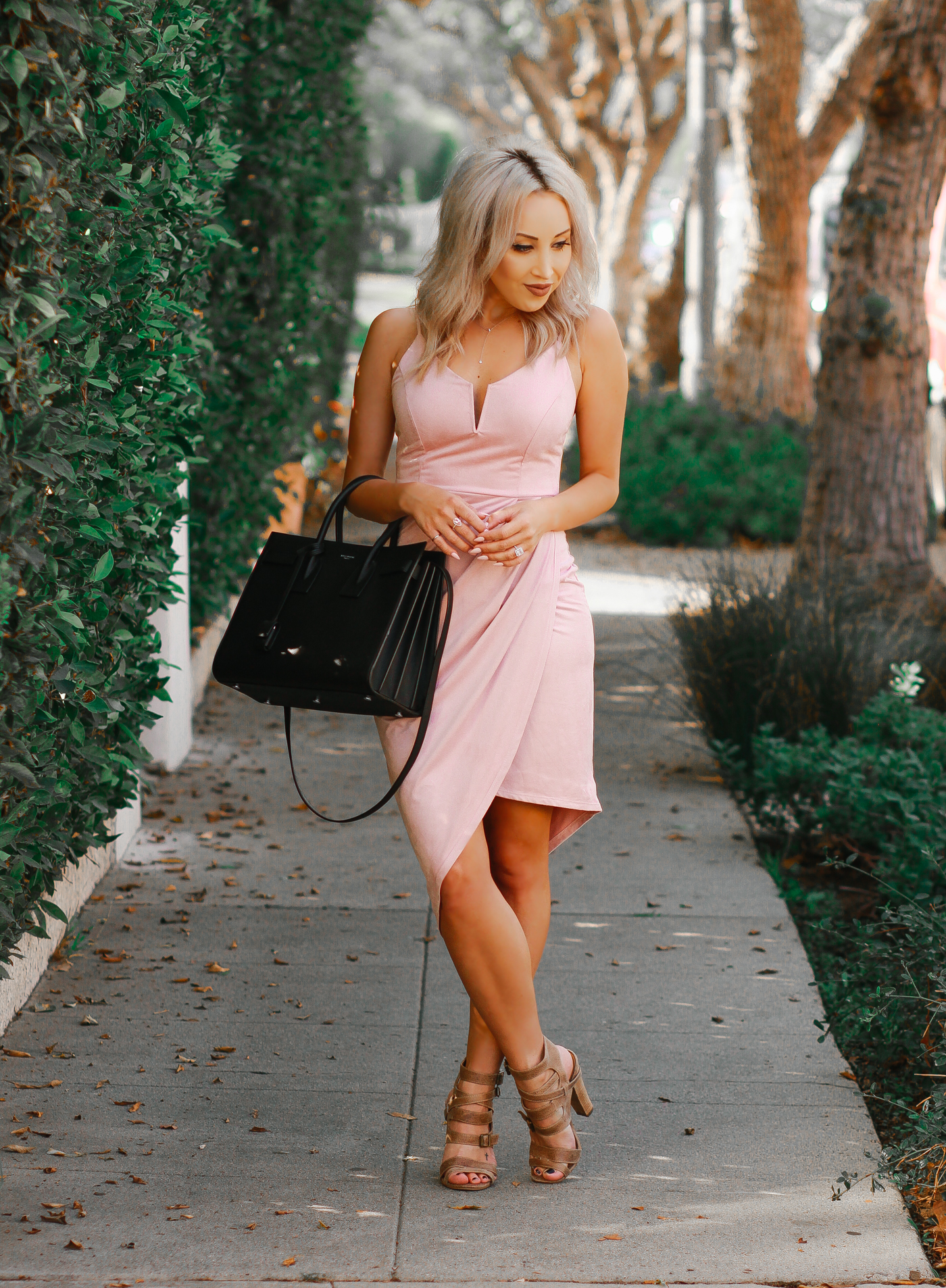Blondie in the City | Pink Suede Dress