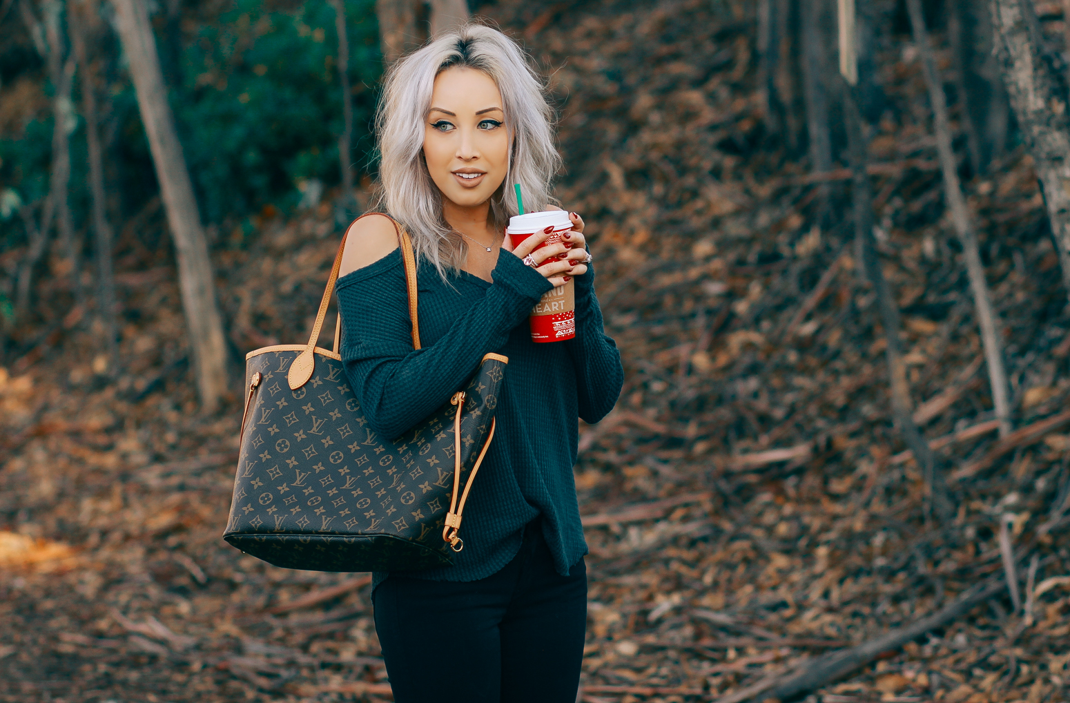 Blondie in the City | Cutout Shoulder Sweater from @ShopAtHer | Louis Vuitton Neverfull Bag