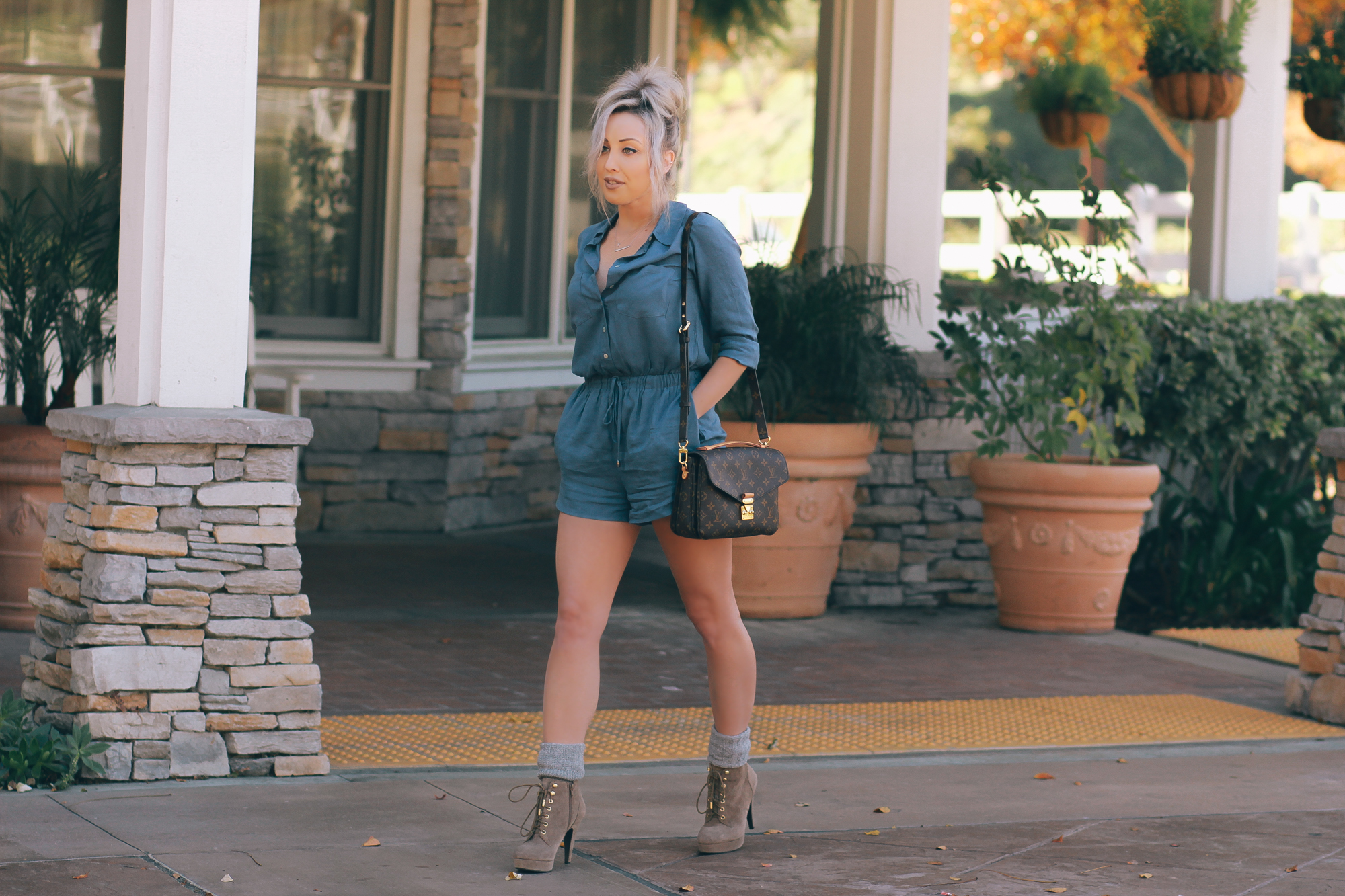 Blondie in the City | Blue Button Up Romper and Socks with Booties | Louis Vuitton Pochette Metis