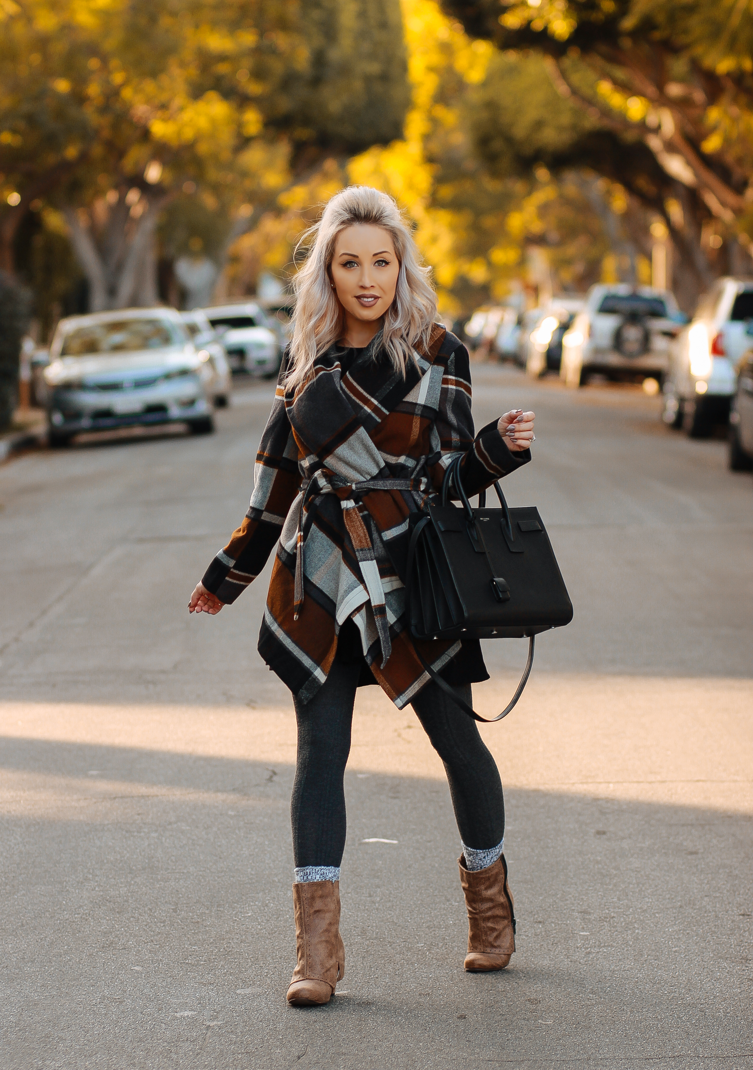 Blondie in the City | Plaid Coat @chicwish | Fall and Winter Fashion | YSL Bag