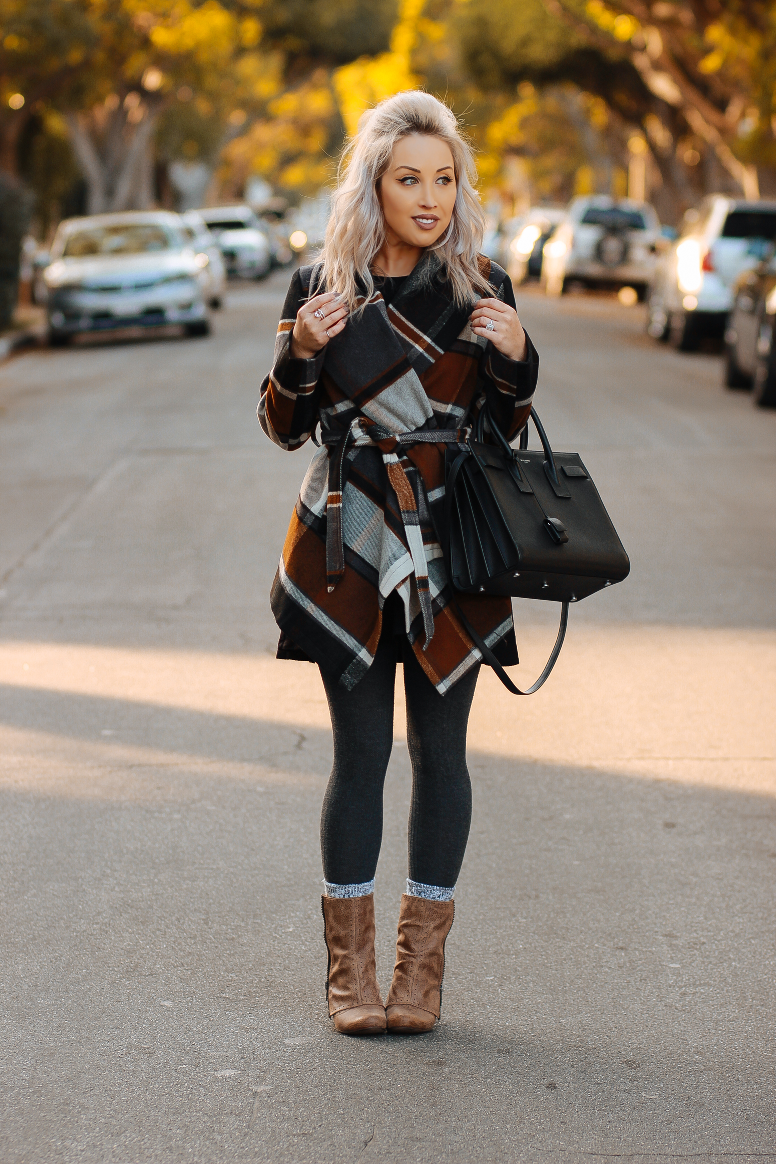 Blondie in the City   Plaid Coat @chicwish   Fall and Winter Fashion   YSL Bag