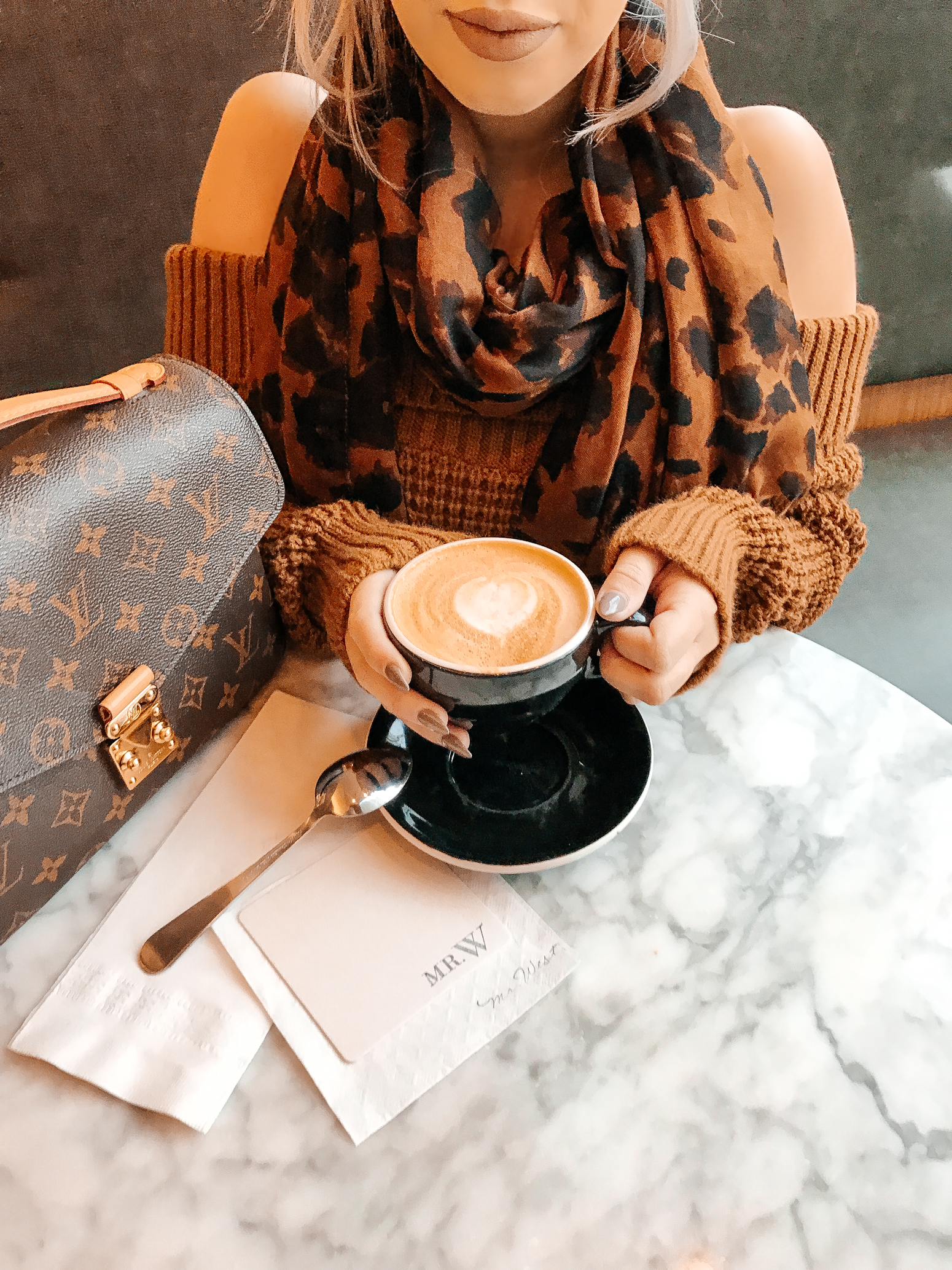 Blondie in the City   Nordstrom Off The Shoulder Sweater   Louis Vuitton Pochette Metis Bag