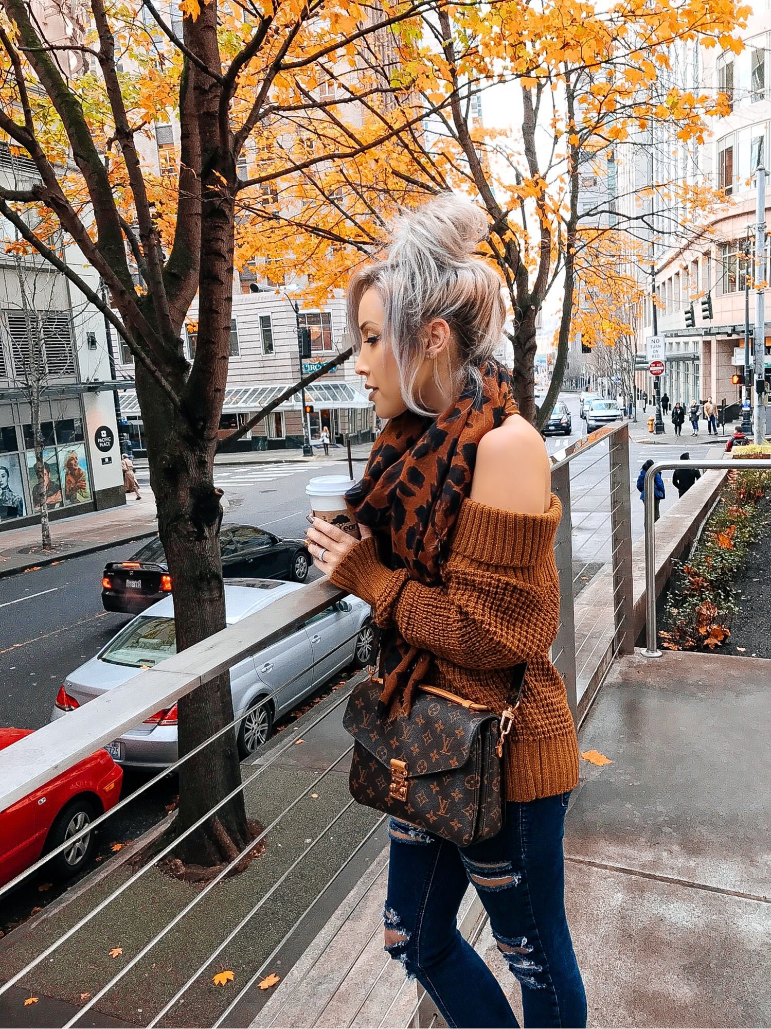 Blondie in the City | Nordstrom Off The Shoulder Sweater | Louis Vuitton Pochette Metis Bag