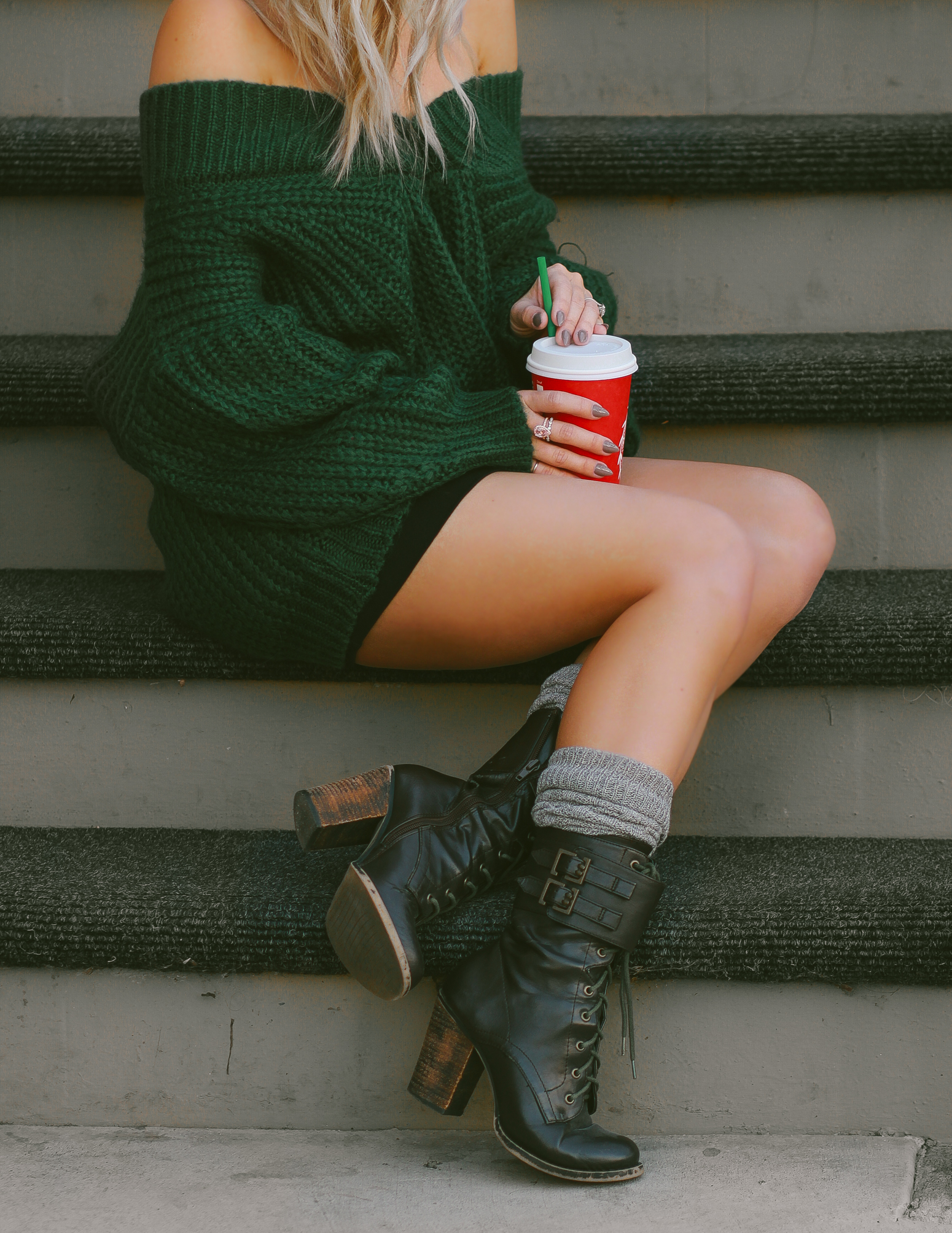 Blondie in the City | Dark Green Off The Shoulder Sweater