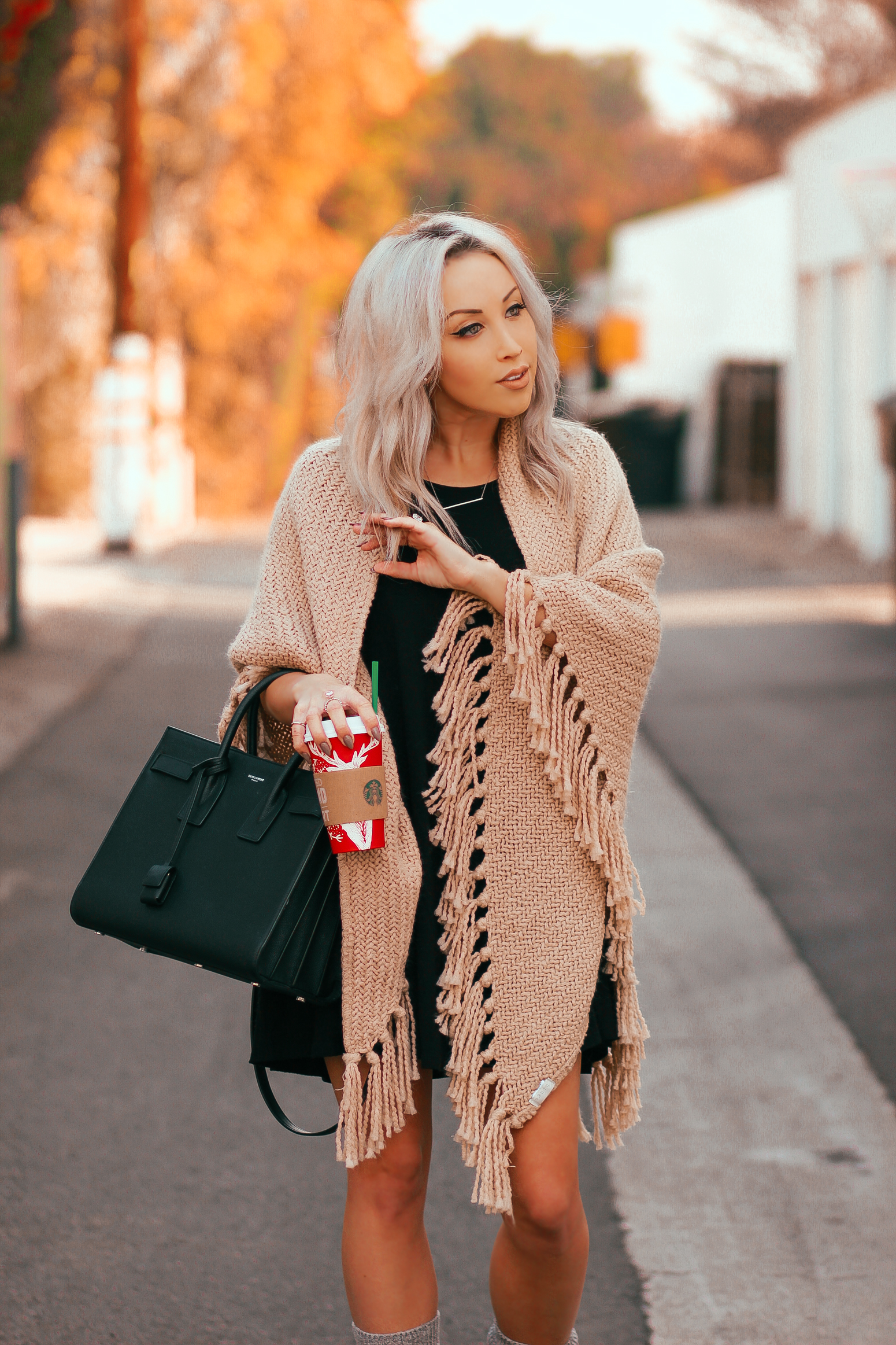 Blondie in the City | Comfy Fall Outfit | Beige Nordstrom Shawl