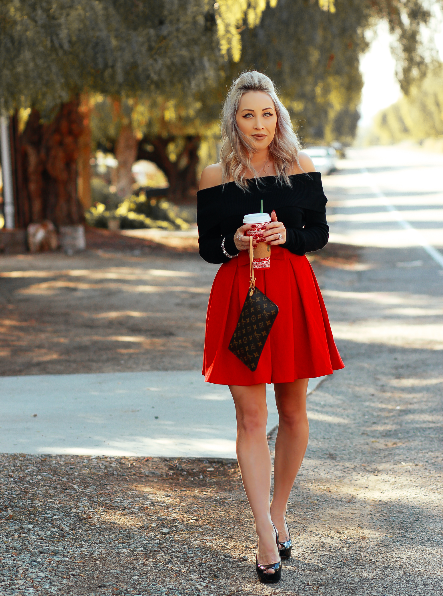 Blondie in the City | Red Holiday Skirt, Holiday Outfit Inspo