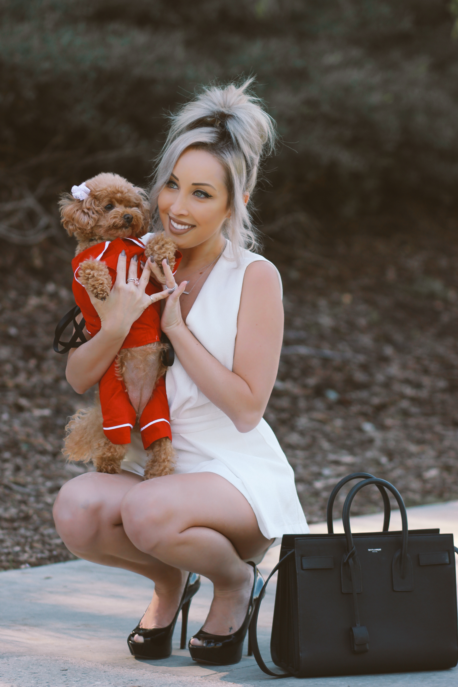 Blondie in the City | White Bride To Be Romper | Puppy Pajamas