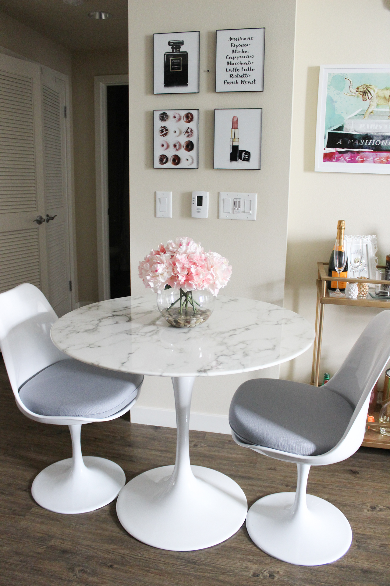 ... Faux Marble Table | White Dining Room | Gold Bar Cart |  StyledByBlondie.com ...
